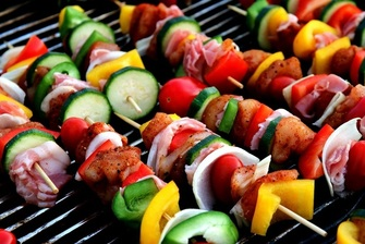 Barbecue sate spiezen buffet