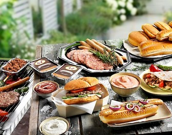 Burgers en hot dogs barbecue food only